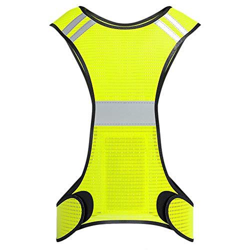 Laduup Reflektorweste, Sicherheitsweste, flexibel einstellbar I Warnweste mit Reflektoren, Kinder | elastisch, leicht, einstellbar | Sichtbar für Jogger, Fahrrad, Motorrad, Joggen + Tasche