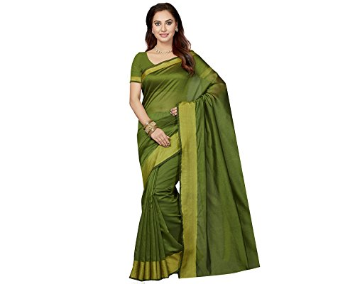 Ishin Poly Silk Green Party Wear Wedding Wear casual Daily Wear Festive Wear Bollywood New Collection Woven with Zari Border Latest Design Trendy Women's Saree/Sari  available at amazon for Rs.399