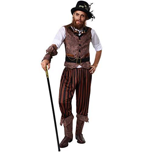 Für Duster Erwachsenen Kostüm Steampunk - dressforfun 900491 - Herrenkostüm Steampunk Abenteuerer, Outfit in Einer recht abenteuerlichen Kombination (XL | Nr. 302338)