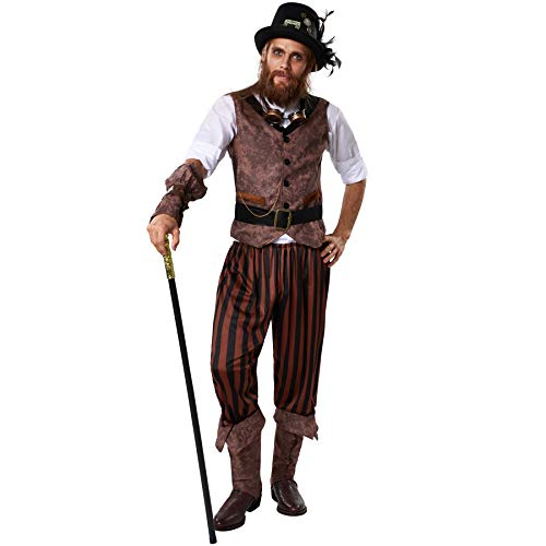 dressforfun 900491 - Costume Uomo Adulti Avventuriero Steampunk, Inclusi Pantaloni a Righe in Look piratesco (L | No. 302337)
