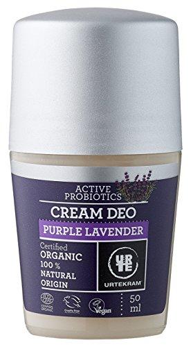 Urtekram Purple Lavender Creme Deo Roll-On Bio, Balance, 0% Aluminium, 50 ml