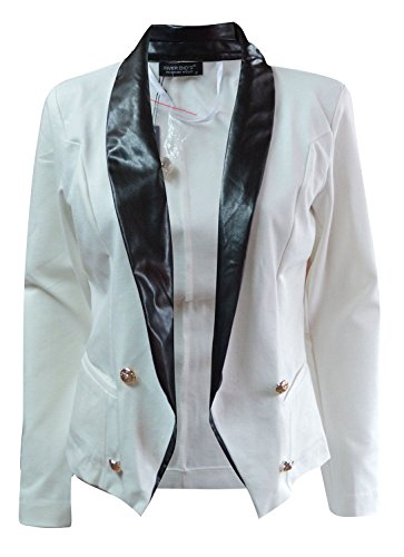 Les dames de la femme Zip Up Button Up texturé faux cuir Veste motard Blazer Blazer Blanc