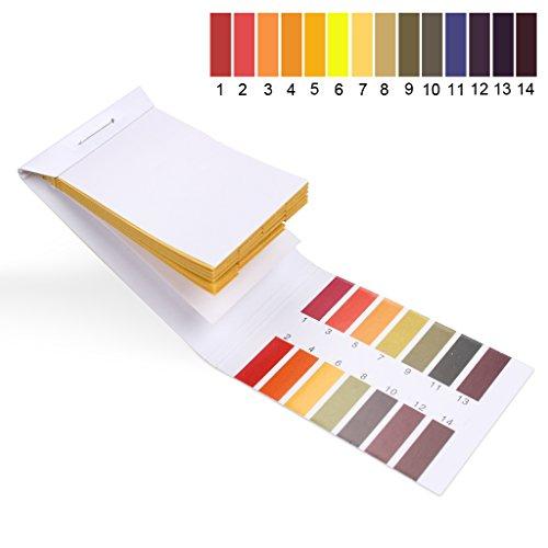 5 paquetes de 80 tiras de prueba de pH, kit universal de prueba de tornasol de 1-14 de rango completo