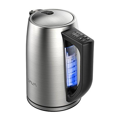 Hervidor de Agua Eléctrico 1.7L VAVA 2000W (Doble Pared Anti-quemo, Libre de BPA, Control Preciso de Temperatura, Protección contra Hervido Seco, Mango Térmicamente Aislado) para Té/Café/Pasta/cocción