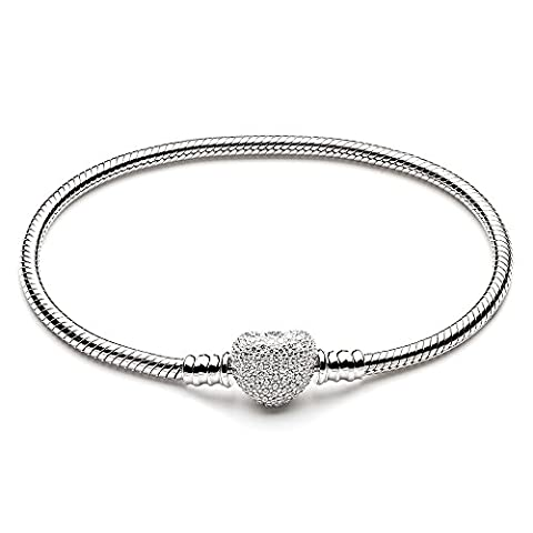 ATHENAIE 925 Sterling Silver Snake Chain avec pavé clair CZ Heart Clasp Bracelet Fit All European Charm Beads