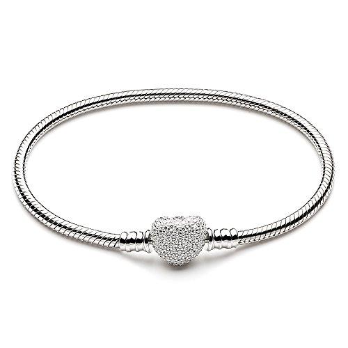 Preisvergleich Produktbild ATHENAIE 925 Sterling Silber Schlange Kette Mit Pave Clear CZ Herz Verschluss Armband passen alle europäischen Charme Perlen