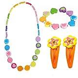 Bino 4 tlg. Set Holzschmuck Mädchen Motiv Regenbogen - Halskette Armband (Regenbogen Herz) 2 Haarspangen