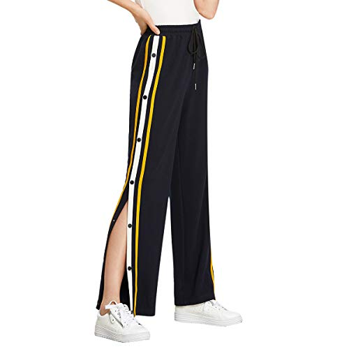 SOLY HUX Damen Hosen Sweatshose Streifen Sweatpants Elastischer Bund Jogginghose mit Knöpfe Kordelzug Gelb Streifen M (Gelbe Sweatpants Frauen)