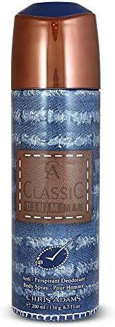 Chris Adams Perfumes Classic Denim Man Pour Homme Deodorant For Men, 200 ml
