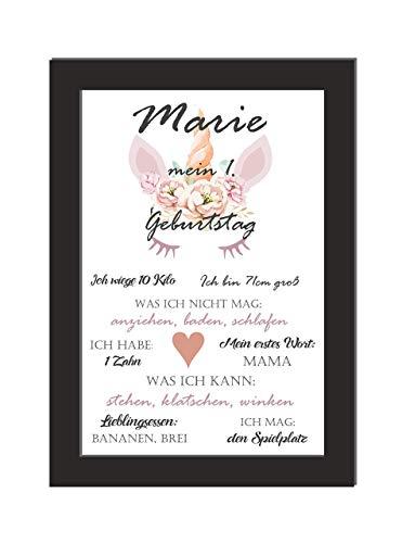 Meilenstein Baby/personalisiertes Wandbild/Geschenk 1. Geburtstag/Mädchen/Kinderzimmer/DIN A4 / wahlweise mit Bilderrahmen