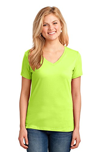Port & Company® Ladies Core Cotton V-Neck Tee. LPC54V Neon Yellow L