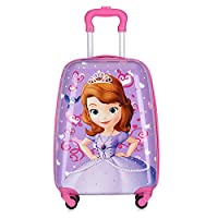 MissTiara - 18 Inch Lightweight Kid's Travel Luggage suitcase Children School Trolley bag Cartoon Rolling Bag on wheels (Princess Sophia)