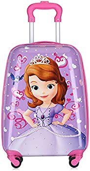 MissTiara - 18 Inch Lightweight Kid's Travel Luggage suitcase Children School Trolley bag Cartoon Rolling Bag on wheels (Prin