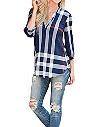 16f70d8080b Shinekoo® Femmes col V 3 4 Manche Plaid Longue Top Chemisier en Vrac Shirt
