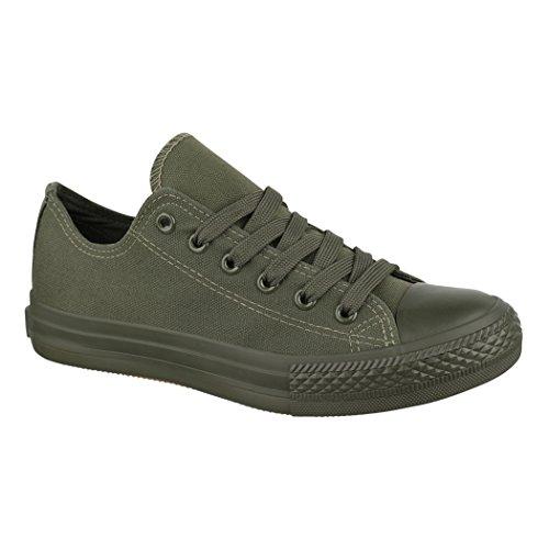 Elara Unisex Sneaker | Bequeme Sportschuhe für Herren und Damen | Low Top Turnschuh Textil Schuhe 36-46 ZY9032-DkGreen-37