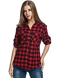 7da3860d2e86 NPRADLA 2018 Herbst Winter Damen Shirt Elegant Langarm Frauen Bluse Tops  Tartan Plaid Flanellhemden Roll up