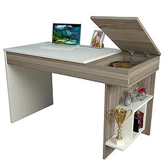 HIDDEN Bureau White / Avola - Computer Workstation - Home Office Desk - Writing Table with shelf unit in modern Design