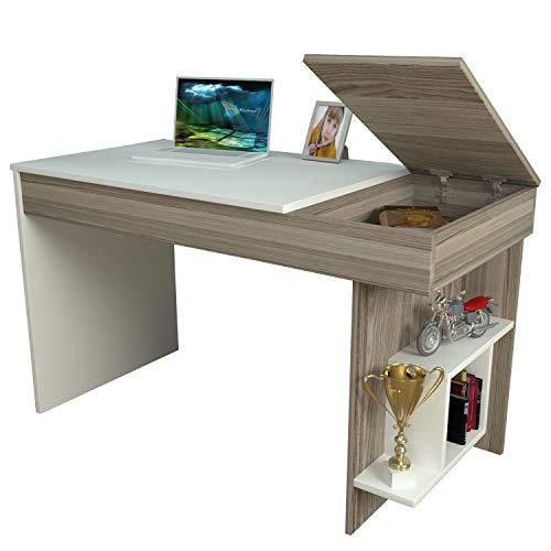 HIDDEN Scrivania - Avola / Bianco - Scrivania per computer - Scrivania ufficio - Porta PC - Tavolo per Computer con Scaffale Ripiano