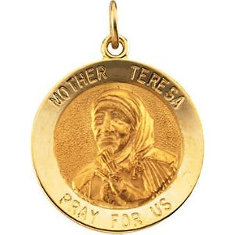14K Giallo 18mm Madre Teresa Medaglia Pendente Rotondo