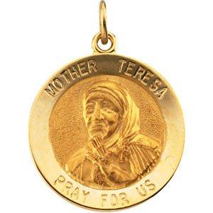 14kt Gelbgold 18mm Mutter Teresa rund Anhänger Medaille