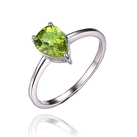 JewelryPalace Pear 1.3ct Natural Green Peridot Birthstone