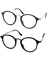 Viceroy Enterprise Present Combo Of Full Rim Golden Black Round Unisex Spectacle Frame | Transparent Nightwear...