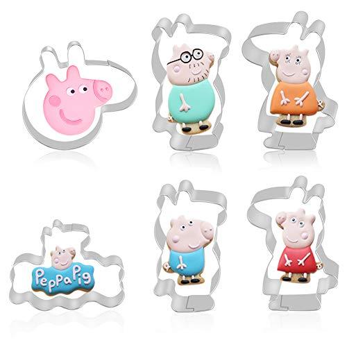 FHzytg 6 Stück Peppa Pig Ausstechformen mit 6 Stück Gedruckte Karte für Kinder, Ausstechform Kinder - Peppa Pig, George Schwein, Papa Schwein, Mummy Pig, Schweinekopf, Message Board - Edelstahl