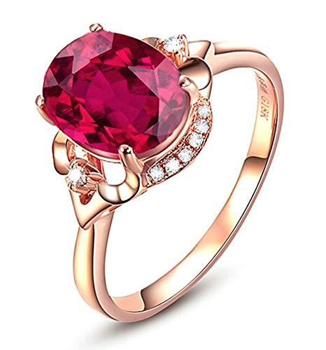AnazoZ Echtschmuck 18 Karat 750 Rosegold Damen Ringe 3CT Ovale Blume Eheringe Rosegold Schmuck 54 (17.2) (Karat Diamant-ring Fake 3)