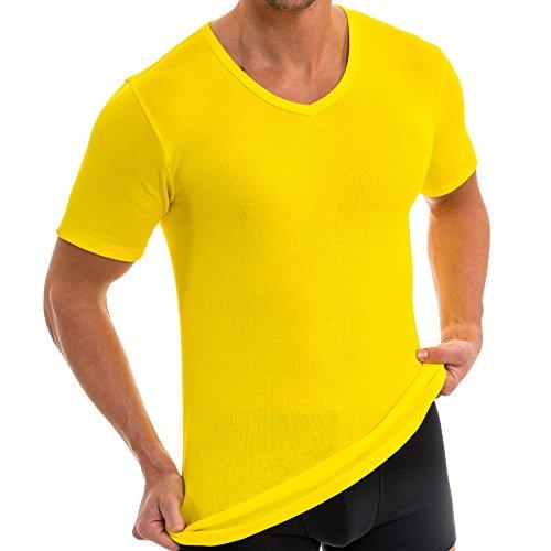urzarm Shirt mit V-Ausschnitt, Business Unterhemd aus 100% Baumwolle, Größe:D 8 = EU XXL, Farbe:California gelb ()