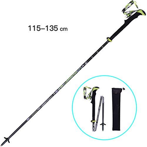 HiXB Wandertöcke Faltbar Trekkingstöcke Aluminium mit Walking Stöcke verstellbar Ultraleicht mit Gummipuffer und Tasche,Black,135cm