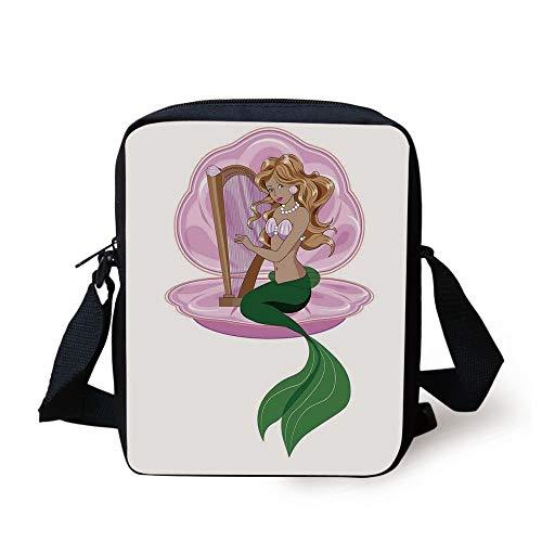ZKHTO Mermaid,Little Mermaid with Blonde Hair Playing Harp Fairy Tale Romance Art Illustration,Pink Green Print Kids Crossbody Messenger Bag Purse (Little Mermaid Hair Bow)