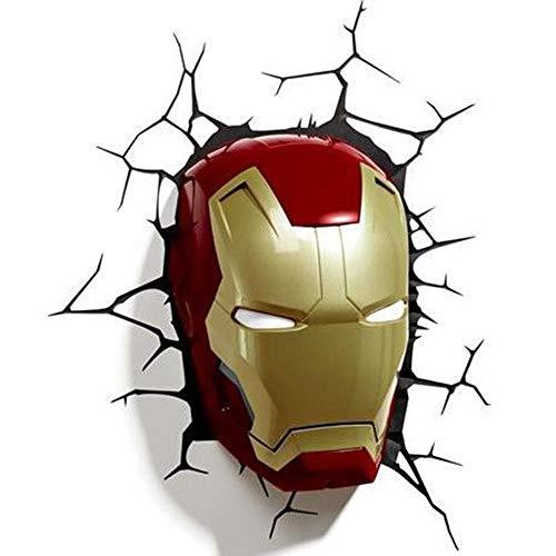 B LL Lampe Murale décorative de Chambre d'Enfants, Avengers Ligue Masque Iron Man, Crack Mur Autocollant LED lumières