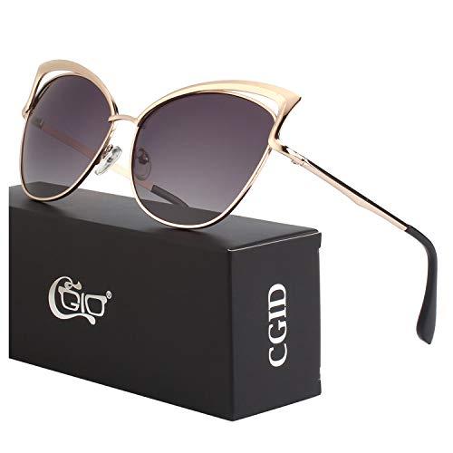 CGID Moderne Modische Spiegel Polarisierte Katzenauge Sonnenbrille Brille UV400,Gold Grau