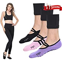 LaLaAreal Women Yoga Socks Non Slip Skid Fashion Ankle Anti-Slip Sock Dance Trainer Sport with Grips Cotton (3 Pairs)
