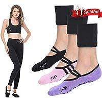 LaLaAreal Calcetines Pilates Yoga Antideslizantes Traspirable Mujer para  Barra Ballet Danza (3 Par) 5934ea132bc64