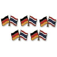 5er Pack Deutschland - Thailand Freundschaftspin Yantec Pin Flagge