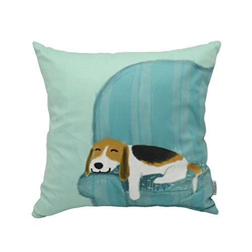 Elviros Dekorativ Baumwoll Leinen Mix Kissenbezug 45 x 45cm-Hund auf dem Sofa