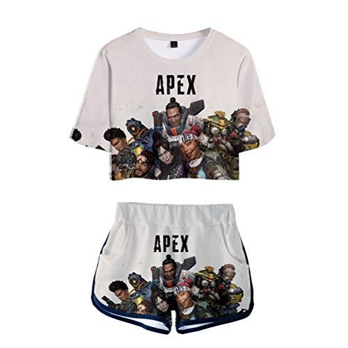 Neborn Apex Legends Camiseta,Camiseta Deportiva y Conjunto Corto de Dos Piezas para niñas Size XL (E)