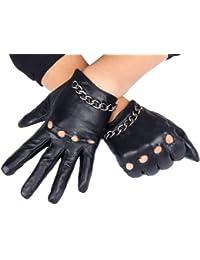 Calonice Amorino Gants noir avec chaine en métal argenté en cuir de mouton et doublure pour femmes M-Size 6000