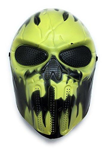 ween Airsoft Paintball Full Face Skull Skeleton Maske (Hellgelb/Schwarz) (Holloween Masken)