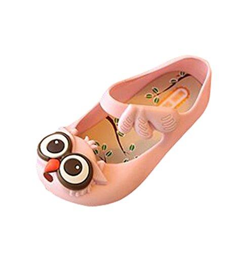 CHENGYANG Enfant Filles Etudiant Dessin Animé Hibou Souple Semelle Sandales Non Slip Chaussures de Gelée pink