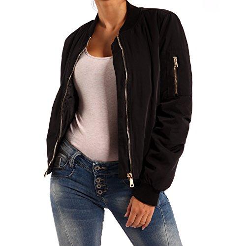 Damen Bomber Jacke Blouson Jacket Flieger Jacke - 2