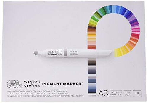 Winsor & Newton Pigment Marker - Pack de 50 hojas de papel para rotuladores, A3