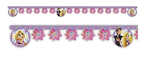 Disney Princess Partyset, Tangeld Rapunzel - Party Girlande Happy Birthday, 2 m Lang mit Schriftzug