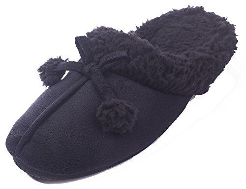 AgeeMi Shoes Damen Slip on Rund Schließen Zehe Flache Weicher Flache Hausschuhe,EuT08 Schwarz M(5-6)
