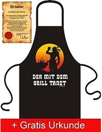verschiedene Bedruckte Fun Schürzen mit Gratis Urkunde - Lustige Witzige Motive auf Kochschürzen & Grillschürzen