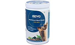 OZiva Nutritional Meal Shake, Men, High Protein Meal Replacement Shake with Ayurvedic Herbs (Chocolate,17 Servings)