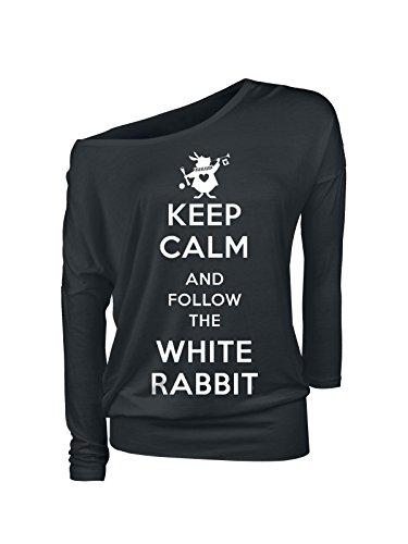 Alice im Wunderland Keep Calm Follow Rabbit Damen Langarmshirt schwarz, Größe:XL (White Rabbit Hat)