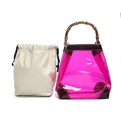 Sruma - Sommer Neue Art und Weise transparente freie Frauen-Handtasche Bambus Griff Strand Designer Umhängetasche Schultertasche Lady PVC Jelly Einkaufstasche Lavendel [] - Lavendel Vintage Handtasche