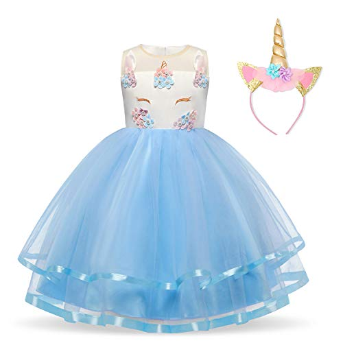 9604061884b4 NNJXD Girls Unicorn Flower Ruffles Cosplay Party Wedding Halloween Fancy  Princess Dress + Headwear Size (